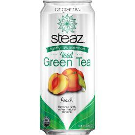 Steaz Organic Lightly Sweetened Peach Iced Green Tea, 16oz