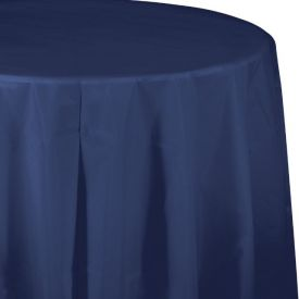 Navy Table Cover Plastic 82 Round