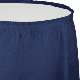 Navy Table Skirt Plastic 14'