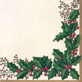 Winter Holly Lunch Napkins 3-Ply